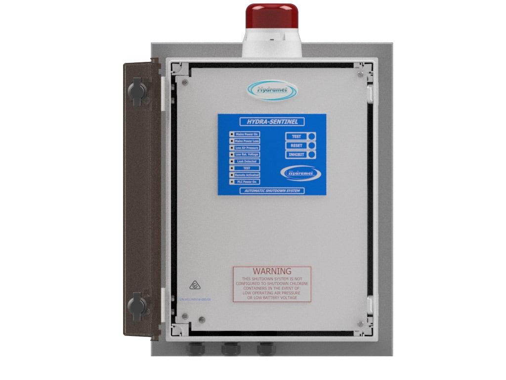 Pneumatic chlorine shutoff device